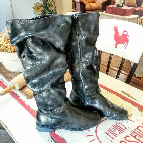 5055347f6f7 Ride With Me Faux Leather Boots Wide Calf Sz 10